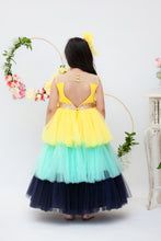 Load image into Gallery viewer, Girls Yellow Aqua And Blue Frill Gown