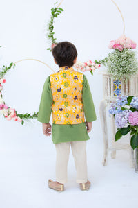 Boys Yellow Brocade Jacket With Kurta Pant