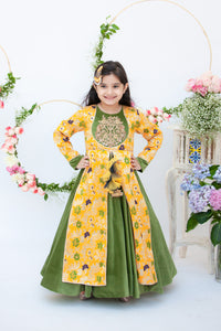 Girls Yellow Brocade And Velvet Anarkali