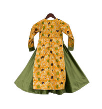 Load image into Gallery viewer, Girls Yellow Brocade And Velvet Anarkali
