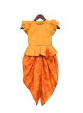 Load image into Gallery viewer, Girls Yellow Chanderi Boti Peplum Top With Dhoti