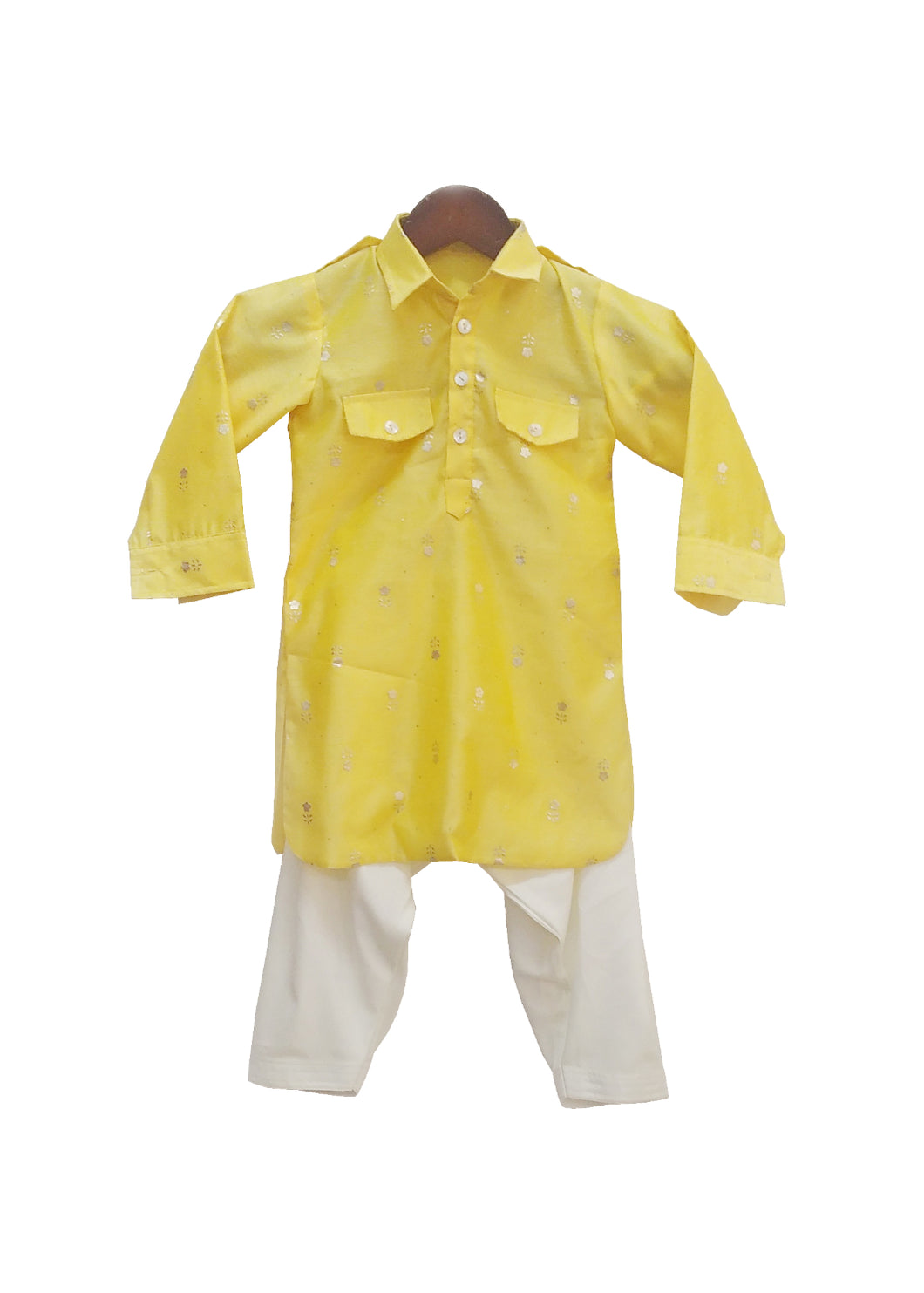 BOYS Yellow Chanderi Kurta With Salwar
