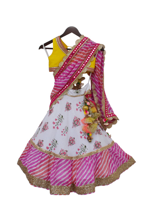 Girls Yellow Choli With White Print Lehenga And Pink Leheriya Dupatta