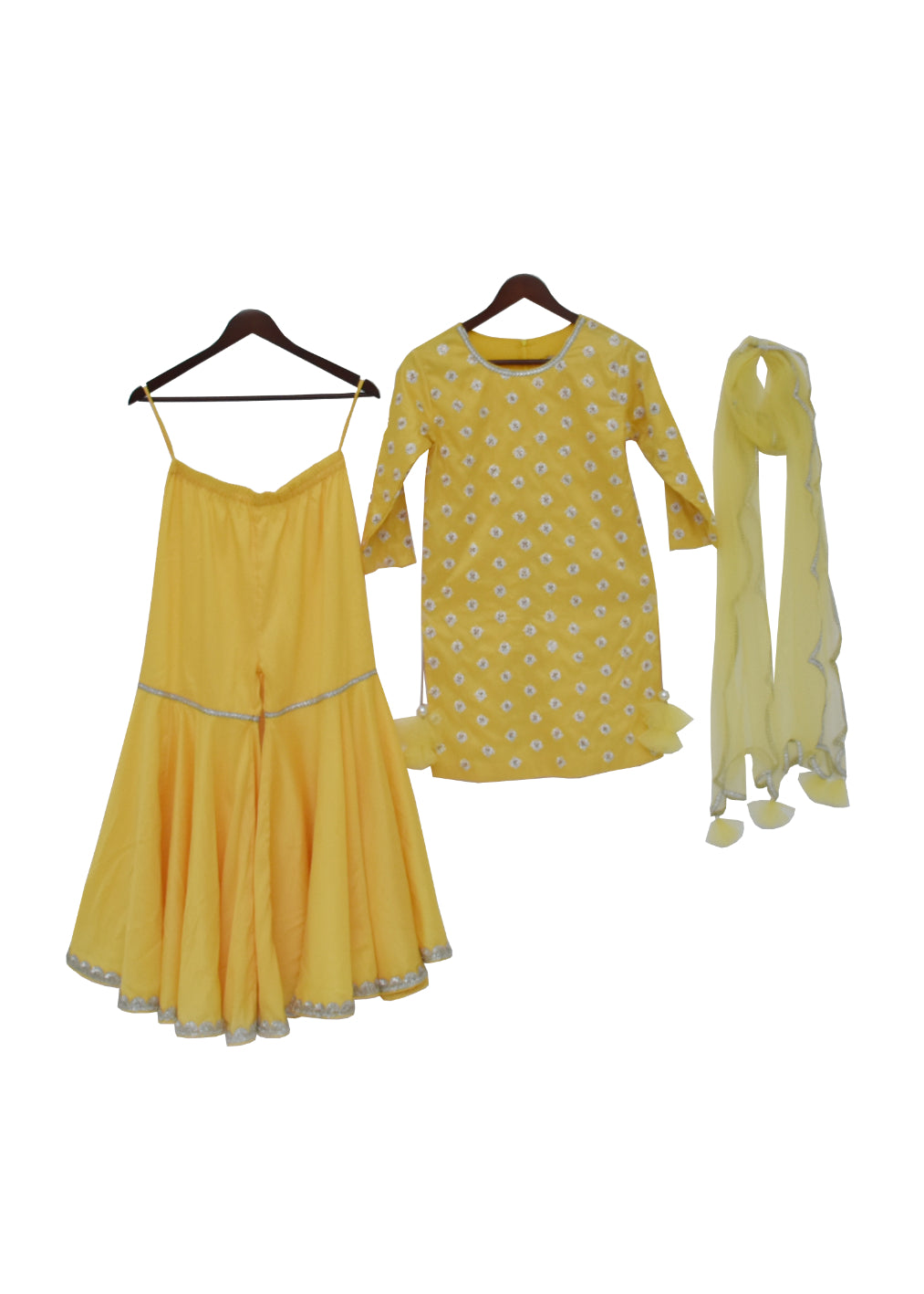 Girls Yellow Embroidery Kurti With Sharara And Dupatta