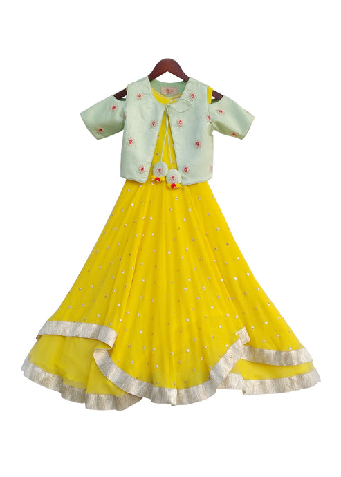 Girls Yellow Sequence Anarkali Dress With Pista Green Jacket