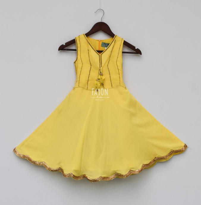 Girls Yellow Anarkali Dress With Jacket