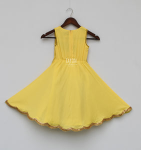 Perfect Panache Girls Yellow Anarkali Dress With Jacket