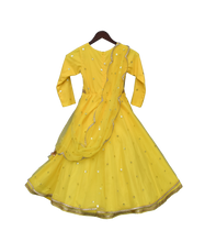 Load image into Gallery viewer, Girls Yellow Booti Net Anarkali