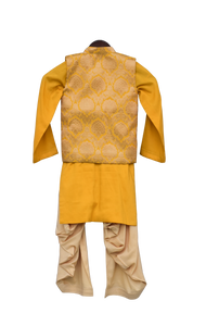 Boys Yellow Brocade Nehru Jacket Set