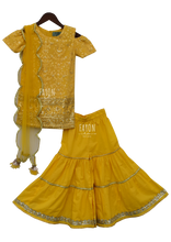 Load image into Gallery viewer, Yellow Lucknowi Embroidery Kurti With Sharara