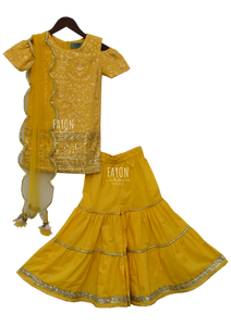 Yellow Lucknowi Embroidery Kurti With Sharara