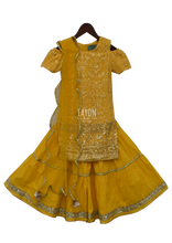 Load image into Gallery viewer, Perfect Panache Yellow Lucknowi Embroidery Kurti With Sharara