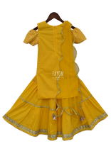 Load image into Gallery viewer, Yellow Lucknowi Embroidery Kurti With Sharara in USA