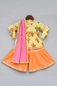 Girls Yellow Flower Print Kurti With Sharara