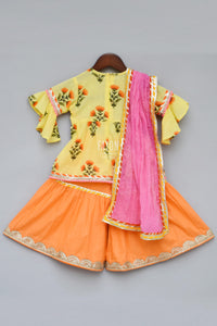 Girls Yellow Flower Print Kurti With Sharara in USA