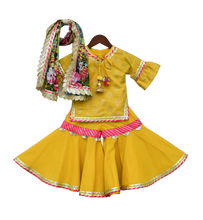 Load image into Gallery viewer, Girls Yellow Foil Print Kurti With Sharara