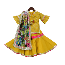 Load image into Gallery viewer, Girls Yellow Foil Print Kurti With Sharara in USA