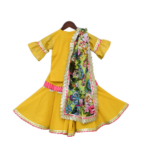 Load image into Gallery viewer, Perfect Panache - Girls Yellow Foil Print Kurti With Sharara