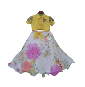 Girls Yellow Knotted Top With Ivory Printed Lehenga