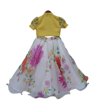 Load image into Gallery viewer, Girls Yellow Knotted Top With Ivory Printed Lehenga