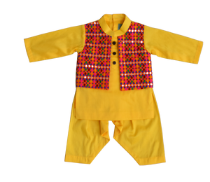 Boys Yellow Kurta With Attached Phulkari Jacket