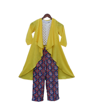 Load image into Gallery viewer, Girls Yellow Long Shrug With Patola Printed Pant