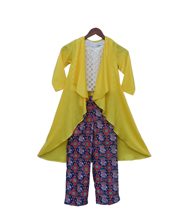 Girls Yellow Long Shrug With Patola Printed Pant