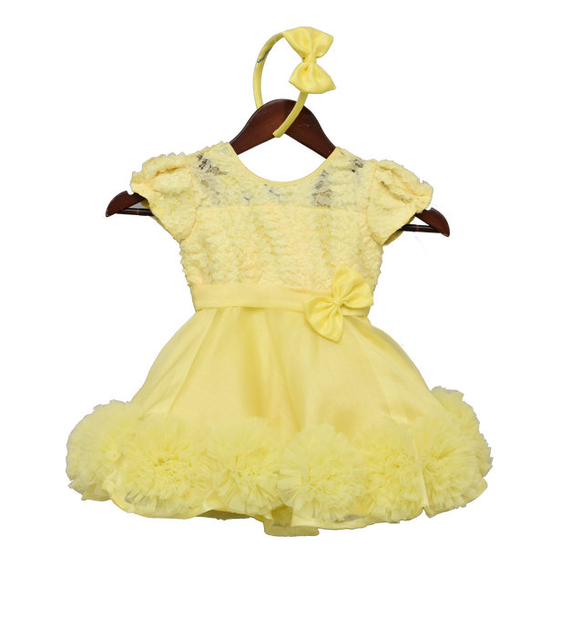 Girls Yellow Organza Frock