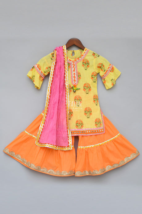 Girls Yellow Printed Kurti With Orange Sharara