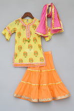 Load image into Gallery viewer, Girls Yellow Printed Kurti With Orange Sharara