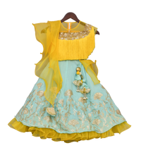 Load image into Gallery viewer, Girls Yellow Tassel Top With Aqua Blue Lehenga