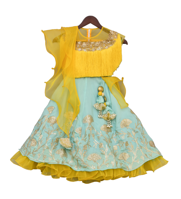 Girls Yellow Tassel Top With Aqua Blue Lehenga