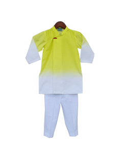 Boys Yellow & White Kurta With Pant