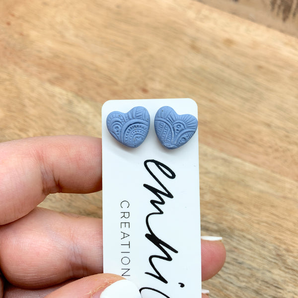 HEART STUDS (small) - pale blue