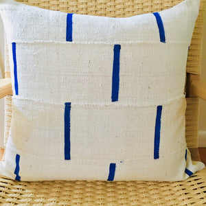 "Mud Cloth Ivory + Blue Pillow 20""x20"""