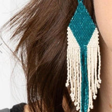 Load image into Gallery viewer, Teal + Ivory Earring