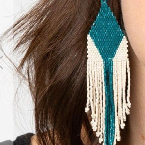 Teal + Ivory Earring