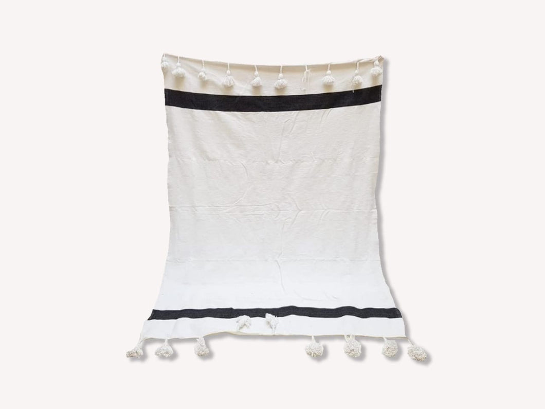 Pom Pom Blanket White with Double Black Stripe