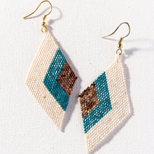 Load image into Gallery viewer, Teal + Ivory Diamond Earring