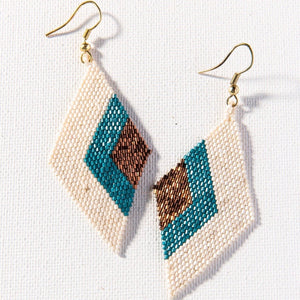 Teal + Ivory Diamond Earring