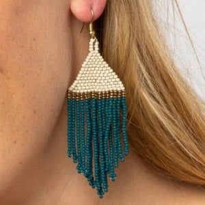 Teal + Ivory with Gold Earring