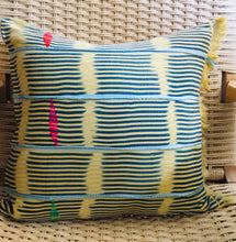 "Load image into Gallery viewer, Mud Cloth Yellow + Sky Stripe Pillow 20""x20"""
