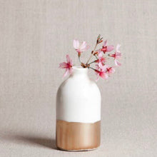 Load image into Gallery viewer, Ivory + Gold Bud Vase