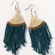 Load image into Gallery viewer, Teal + Ivory with Gold Earring