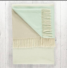 Load image into Gallery viewer, Lambswool Throw Sage + Mint