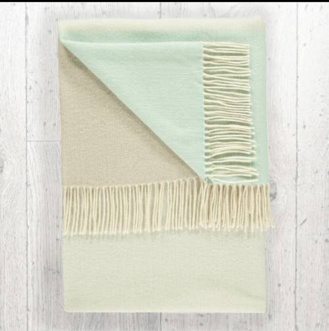 Lambswool Throw Sage + Mint