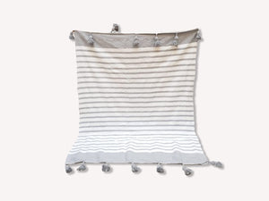 Pom Pom Blanket White+Gray Stripe