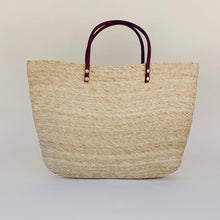 Load image into Gallery viewer, La Playa Straw Tote with Leather Handles
