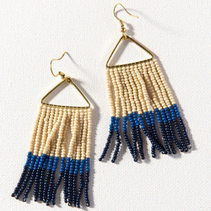 Cobalt + Ivory Triangle Earring
