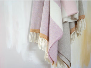 Lambswool Throw Taupe + Fuchsia Stripe
